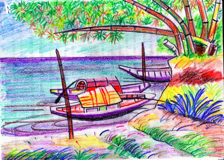 Boats anchored by the riverside - Barnas creation