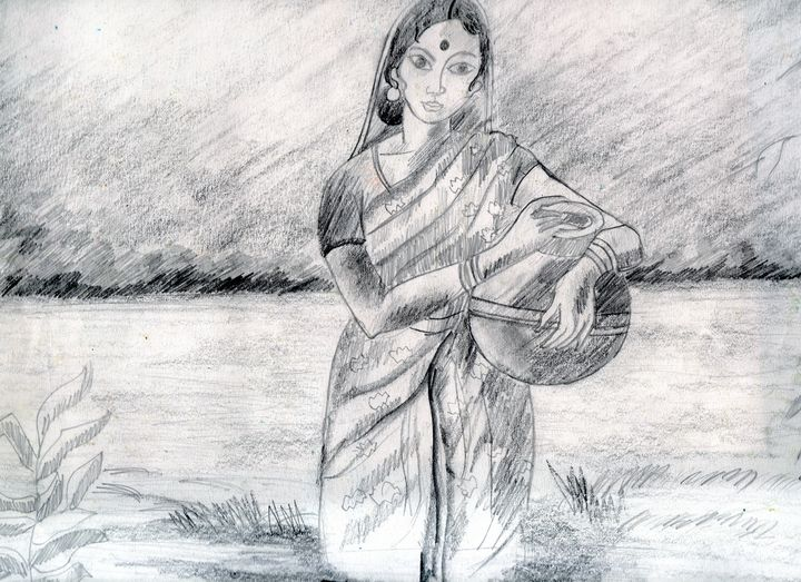A village woman with pot of water - Barnas creation