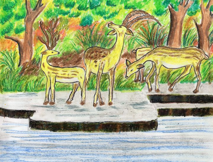 A deer family by the waterside - Barnas creation