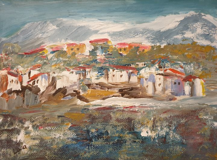 Village on the hill - Lana Brink Art