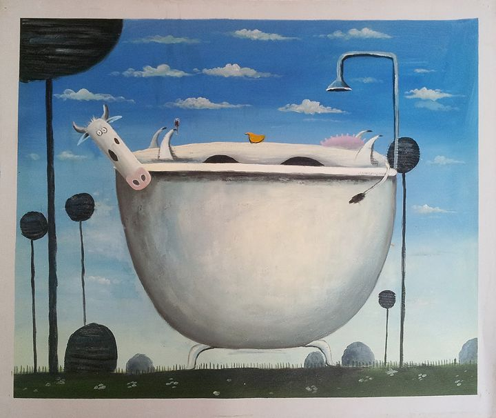 MOO IN THE BATH TUB - HandPaintedCanvasArt