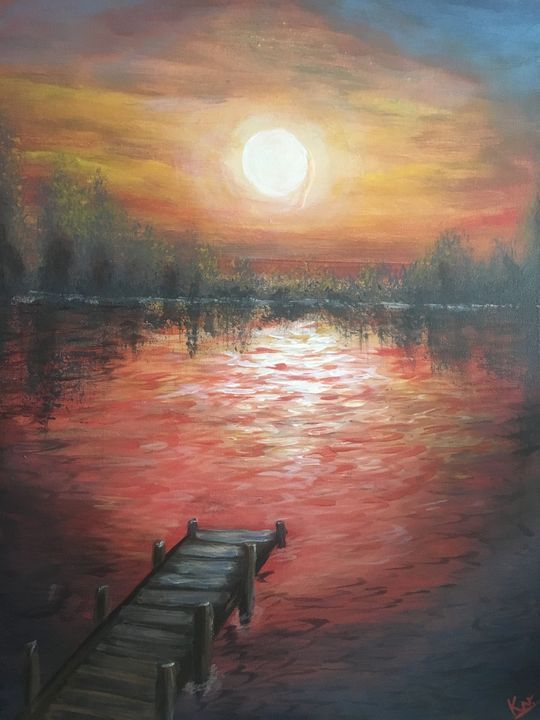 Evening at the Dock - Paintings by Komal