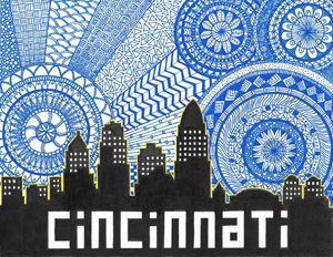 Cincinnati Skyline Zentangle