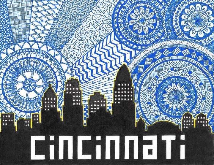 Cincinnati Skyline Zentangle - Alyssa LaCivita
