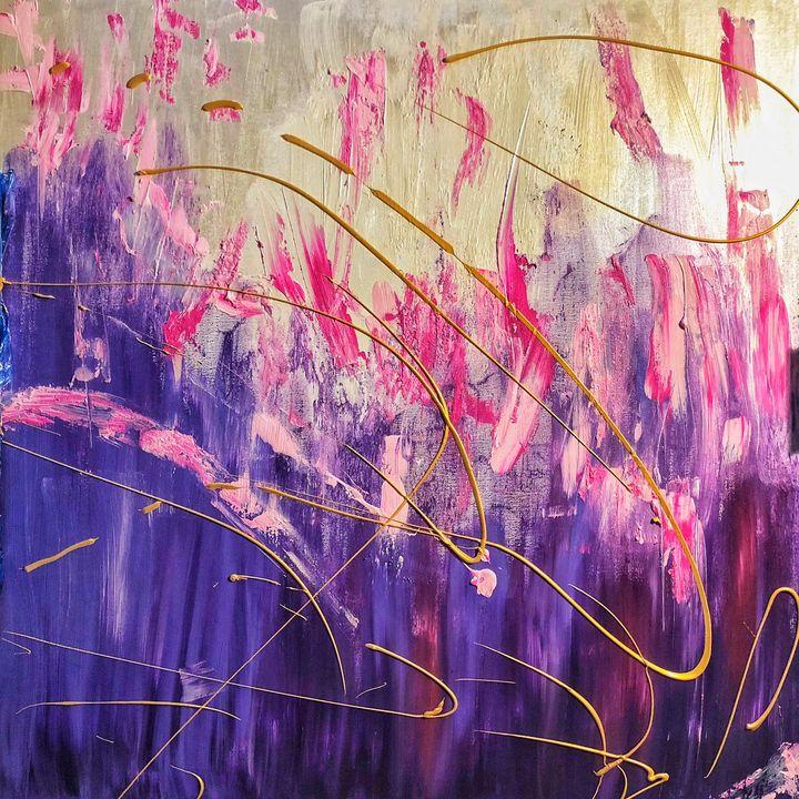Ribak 100X100 CM - Pink abstract art