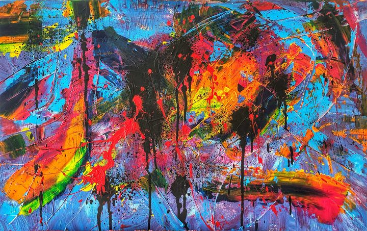 One more chance  80X50 CM - Pink abstract art