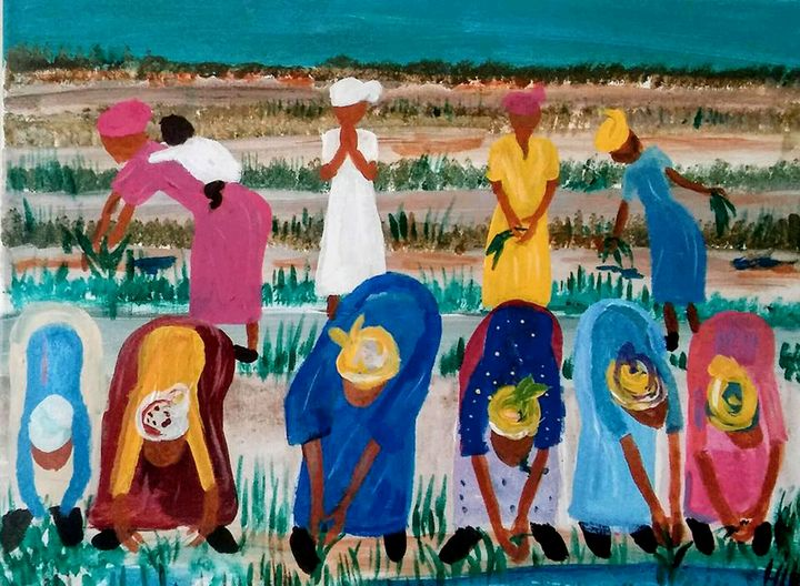 Rice Planters Working - Art By Pearl Graham