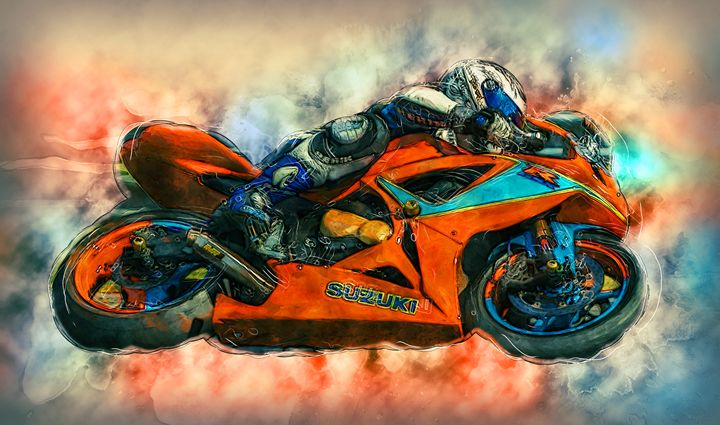 Suzuki Motorcycle Racer - Alan Thompson Art