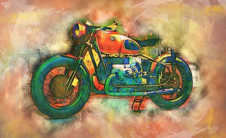 Old BMW Motorcycle - Alan Thompson Art