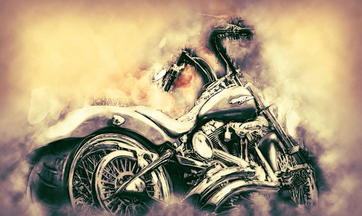 Harley Davidson color version 2 - Alan Thompson Art