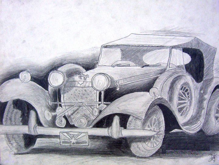 Vintage Car Drawing - Bekablo Creations