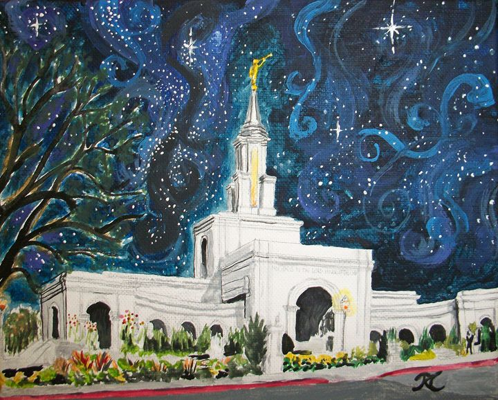 Sacramento CA LDS Temple Starry - Bekablo Creations