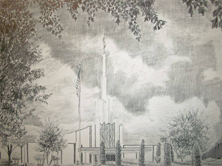 Atlanta Georgia LDS Temple Drawing - Bekablo Creations