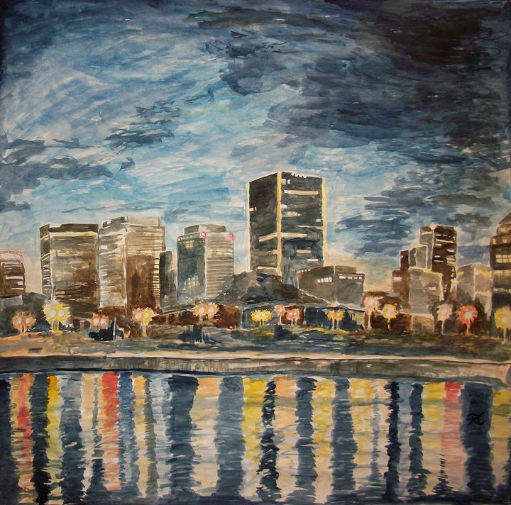 Montreal Evening Skyline - Bekablo Creations