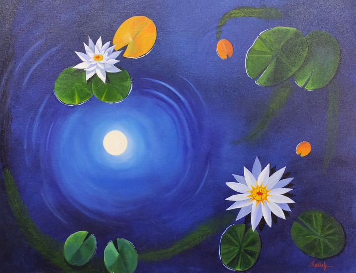 White water lilies - Painting Destination
