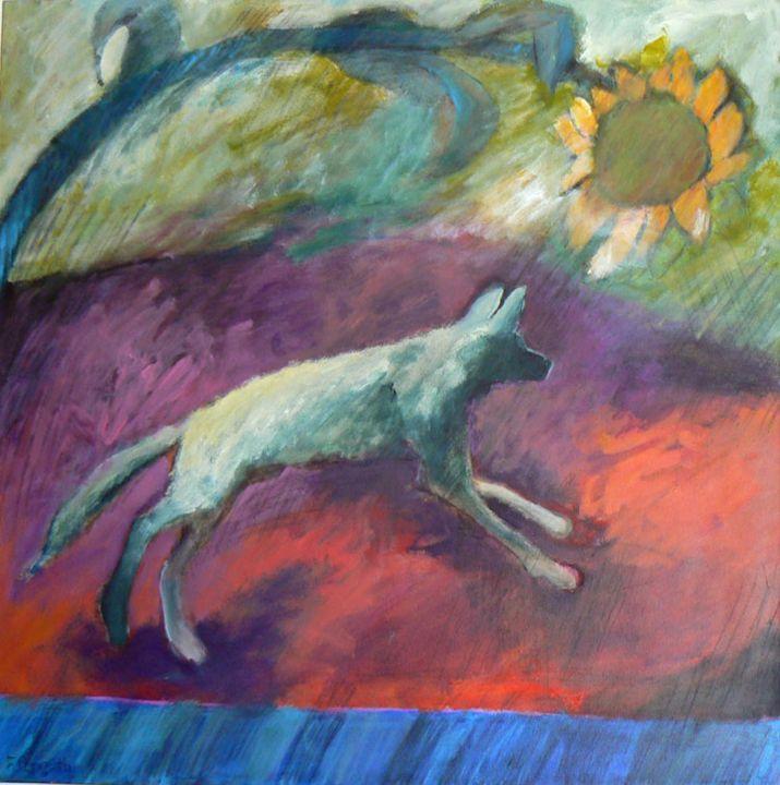 Desert Dog Under a Sunflower Sky - FREDA PONGETTI ORANGE COUNTY FINE ART
