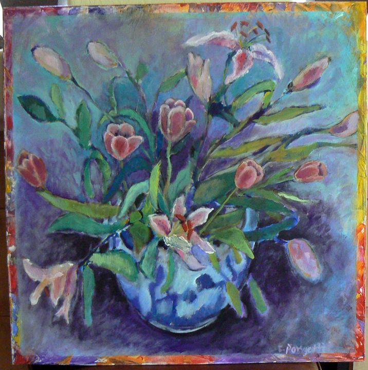 Lilies and Tulips - FREDA PONGETTI ORANGE COUNTY FINE ART