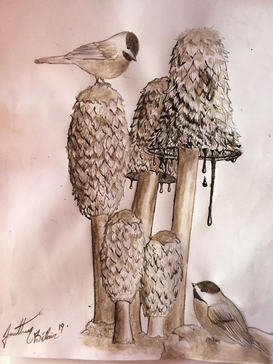 coprinus comatus and chickadees, - Fungi arts