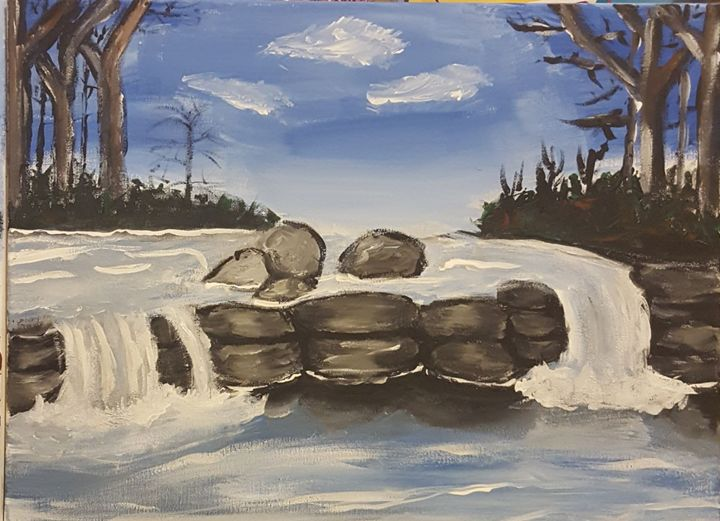 Acrylic Painting waterfall landscape - Shimmy