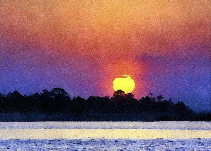 Sunset Over Pagham - Trevor Harvey Art