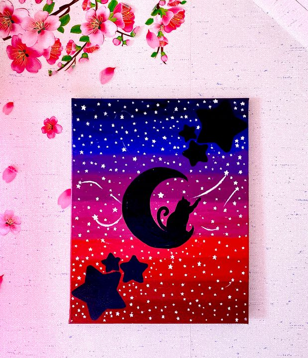 Cat on Moon reaching for the Stars - Stephano Arts