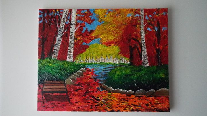 The fall in the park - Dylan's Art Gallery