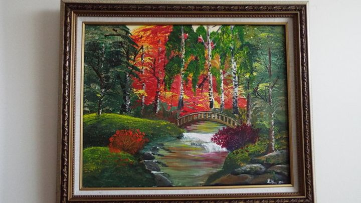 A Small Waterfall under the bridge - Dylan's Art Gallery