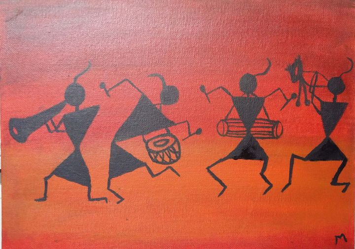 Warli painting anamika art gallery paintings prints ethnic warli painting anamika art gallery altavistaventures Image collections