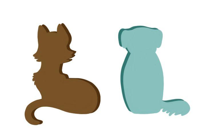 Dog and Cat Pop Art Print - Copper