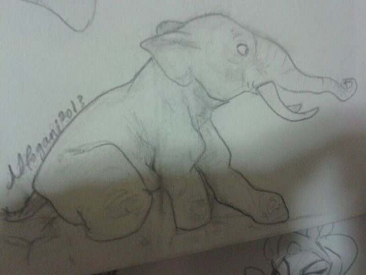 elephant in the mud - Mohammad Alfogani Art