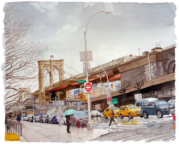 Brooklyn Bridge at Pearl Street - Alex Price Collection