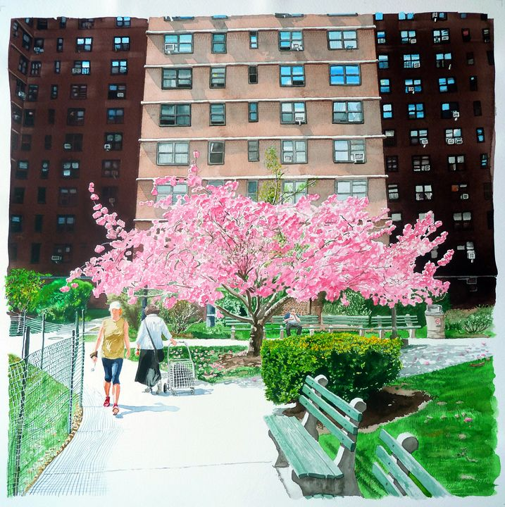 Pink Blossoms in Courtyard - Alex Price Collection