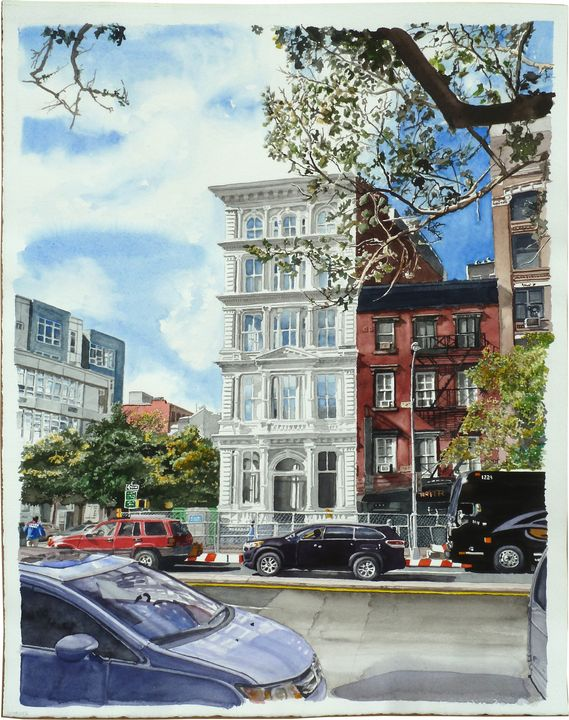 White Building on Bowery - Alex Price Collection