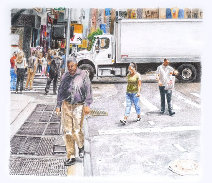 Midtown Walking Near a Truck - Alex Price Collection