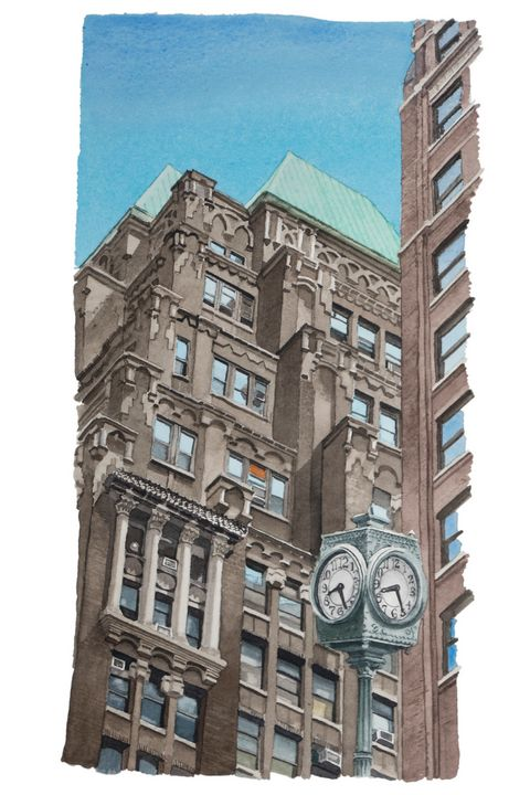 Midtown Building with Clock - Alex Price Collection