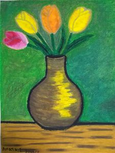 tulips on vase