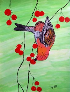 Bird in cherries