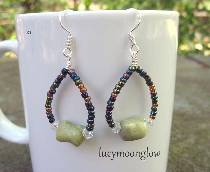 Peridot Jasper Hoop Earrings - Lucymoonglow