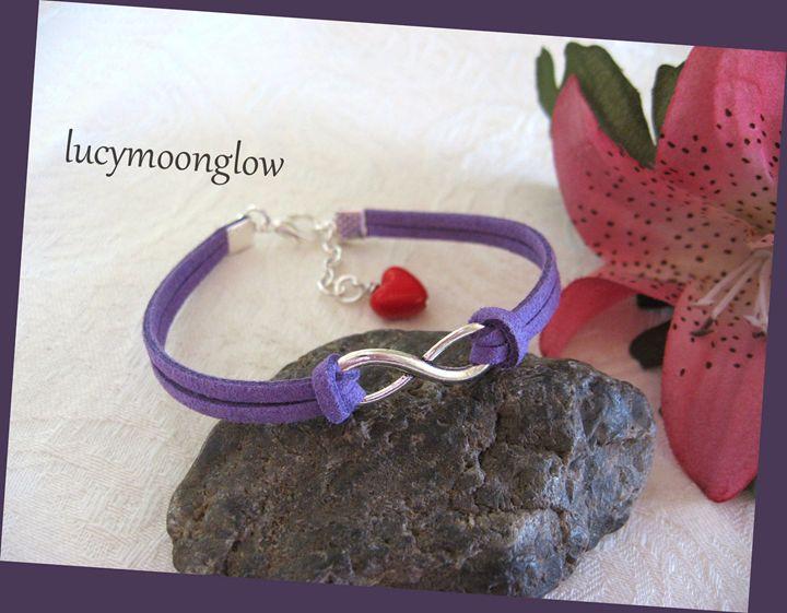 Purple Suede Infinity Bracelet - Lucymoonglow