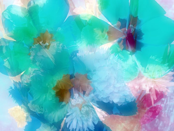 Blue Dreamy Flowers - Flowers by Alaya Gadeh