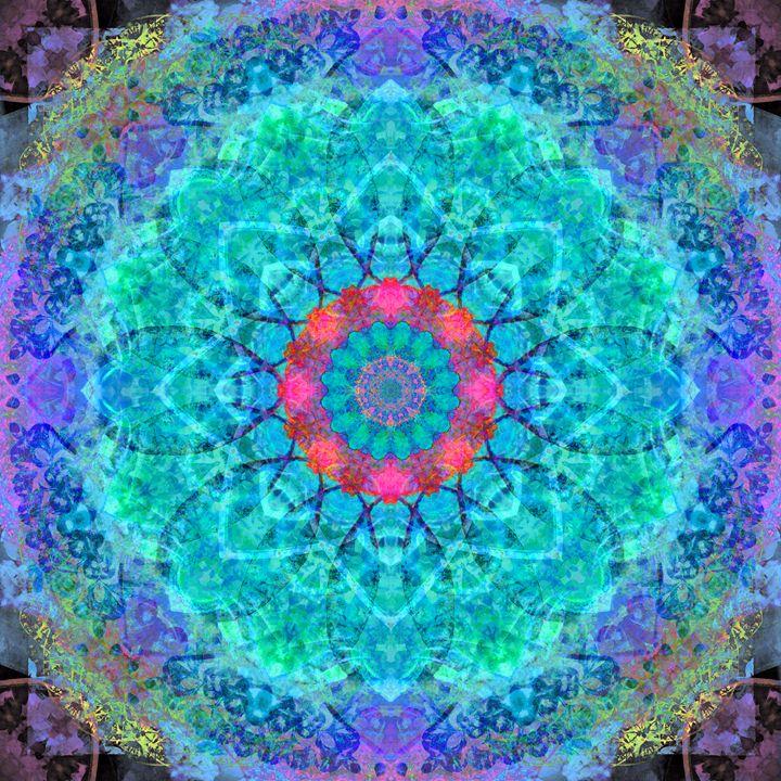 Water & Green Mandala - Flowers by Alaya Gadeh