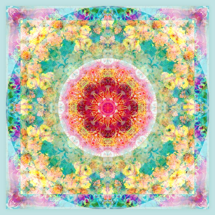 Square Blossom Circle - Flowers by Alaya Gadeh