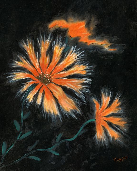 Orange Starburst Flower - Kasper Gallery