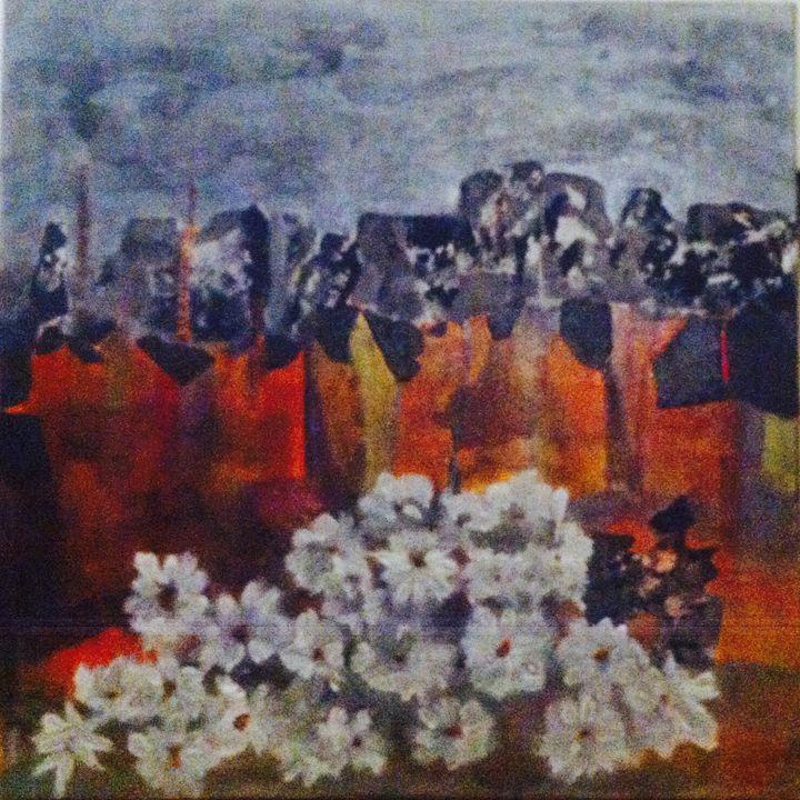 white flowers in landmine - Malou's Gallery