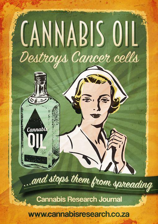 Cannabis oil kills cancer cells - Retro Cannabis Art