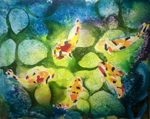 Water colour koi fish