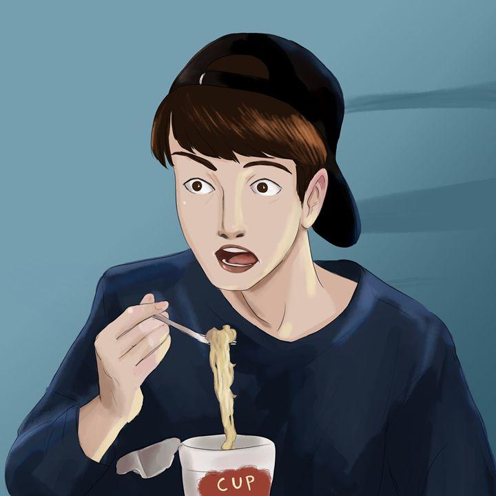 Shocked Man Eating Ramen - Dannah Dino