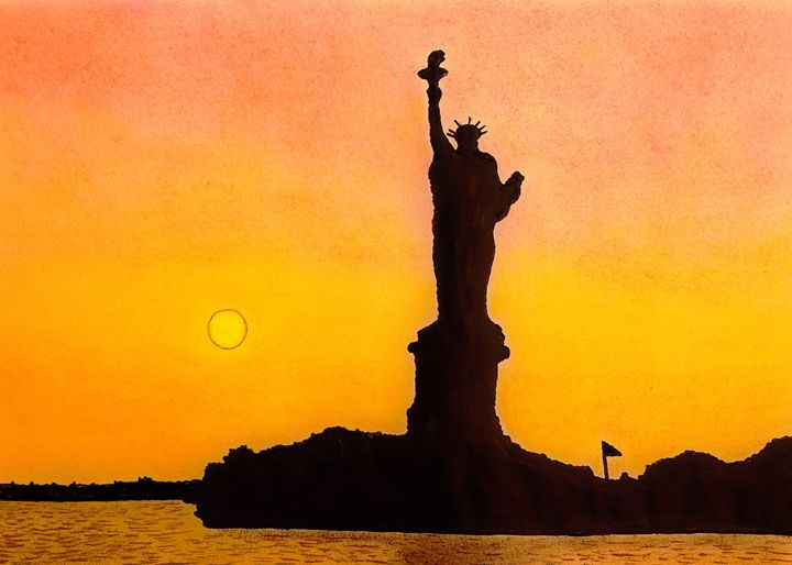 Sunset around Statue of Liberty New - Amitava0112
