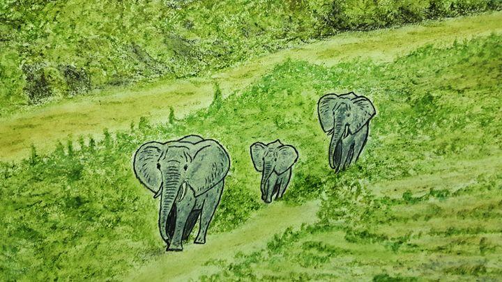 Elephants move on in Afican Jungle - Amitava0112