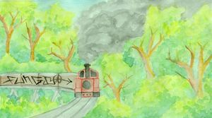 Fungi Graffiti - train landscape